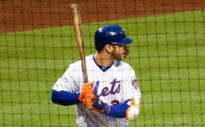 Pete Alonso at the plate for the NY Mets.
