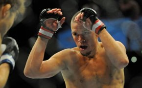 Nate Diaz during a bout against Takanori Gomi during UFC 135