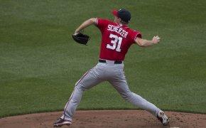 Max Scherzer throwing a pitch