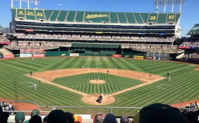 Wide shot of Oakland Coliseum