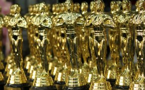 A table full of Oscar trophies
