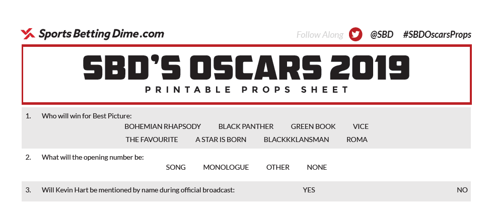 image about College Football Bowl Pick'em Printable Sheets known as Printable Oscars Prop Sheets for 2019 Academy Awards