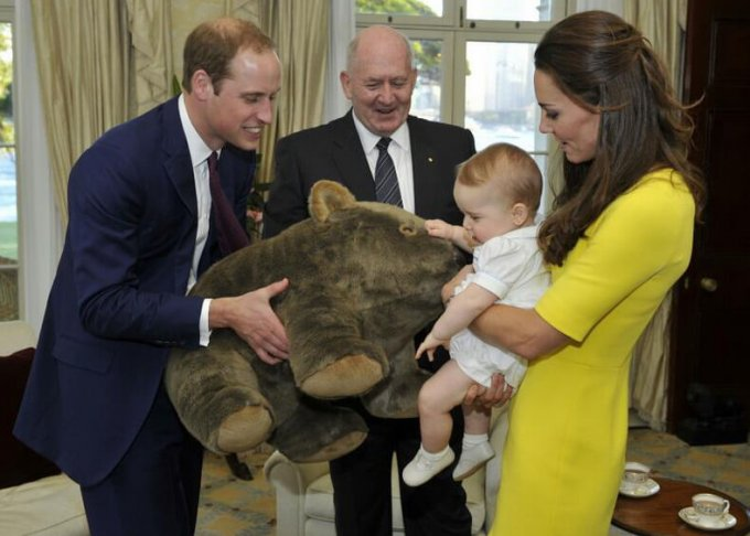 Prince George of Cambridge with his parents, the Duke and Duchess of Cambridge.