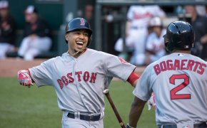 Mookie Betts celebrating with Red Sox teammate Xander Bogaerts.