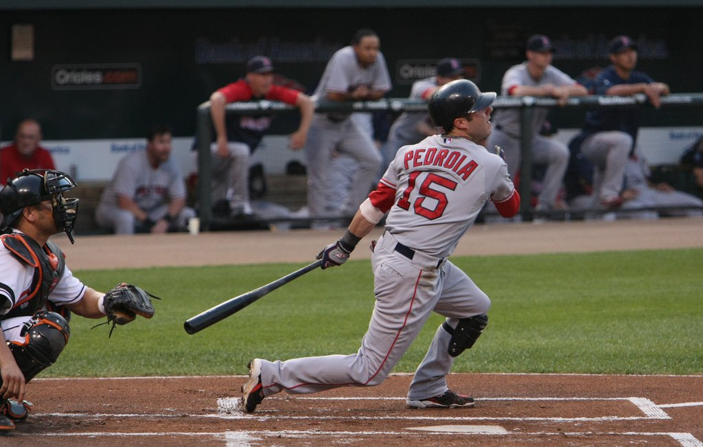 Dustin Pedroia batting vs Baltimore