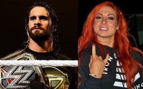 Side-by-side image of Seth Rollins and Becky Lynch