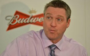 Patrick Roy during a press conference.