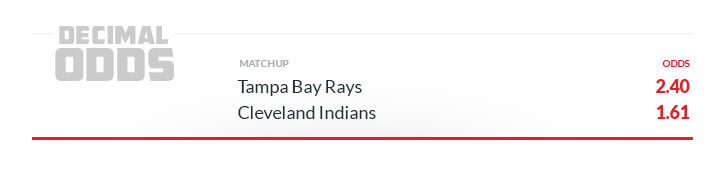 decimal odds sample line rays indians