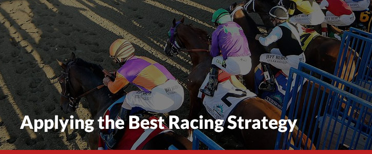 Applying the best racing strategy header image jockeys at starting line