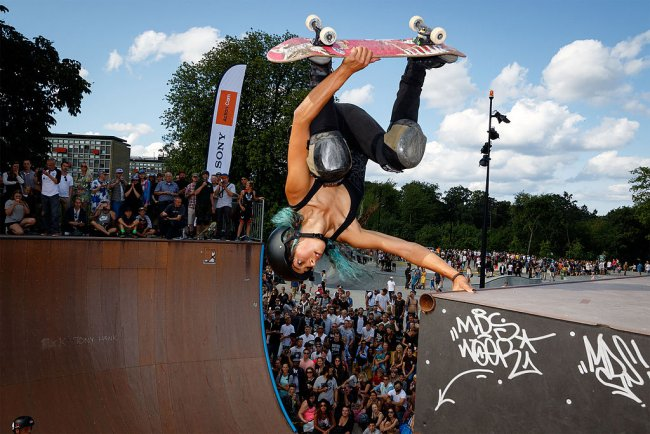 Lizzie Armanto skateboarding in Denmark 2015