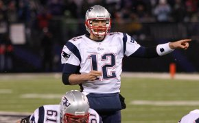 Tom Brady at the line of scrimmage