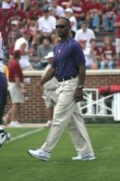 9 September 2006: Washington Huskies head coach Tyrone Willingham walks the field before the Oklahoma Sooners' 37-20 victory over the Huskies at Owen Field in Norman, OK.
