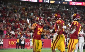 The USC Trojans celebrate a touchdown against Stanford in Week 2