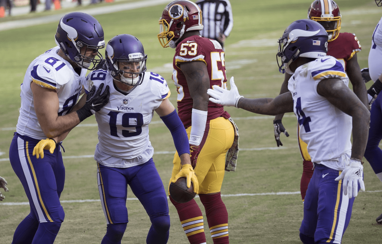 Vikings receivers Adam Thielen and Stefon Diggs celebrating a TD.