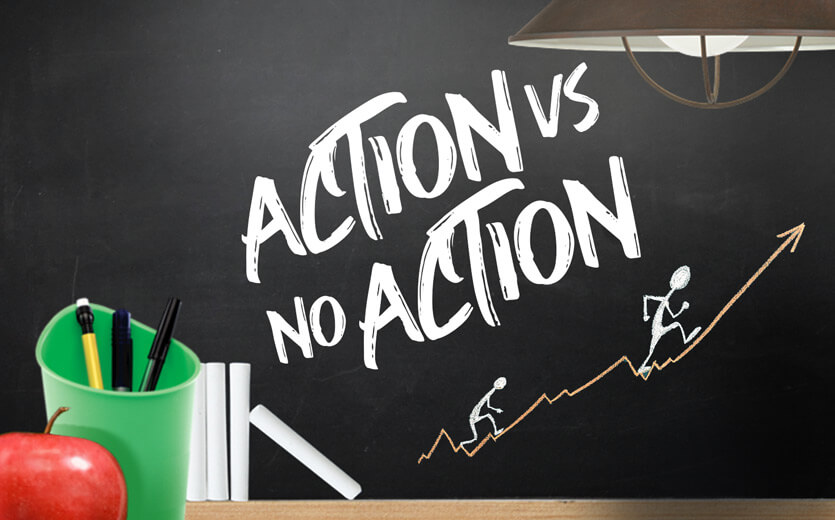 Action vs No Action on betting 101 chalkboard