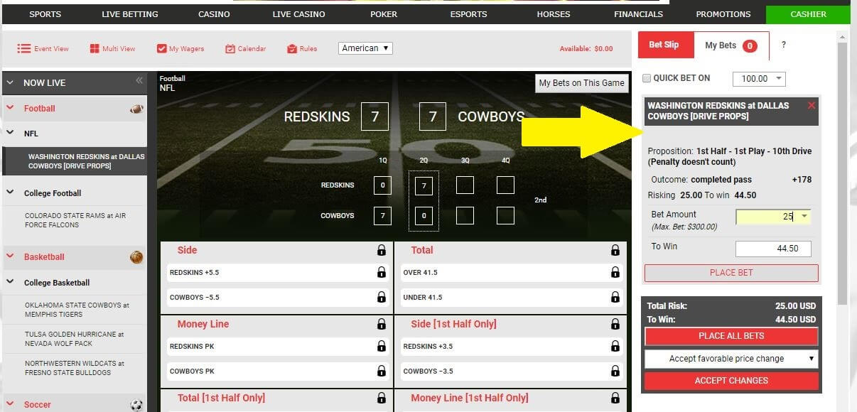 bet online live betting slip example