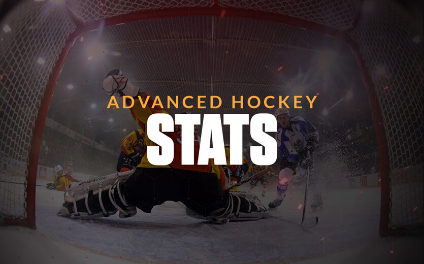Advanced hockey stats text overlay on hockey goalie