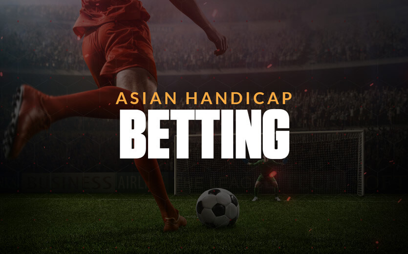 Asian handicap betting text overlay on soccer player