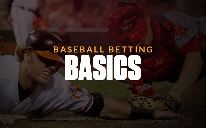 Baseball betting basics text overlay on sliding baseball player