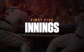 First five innings text overlay on baseball catcher catching a ball