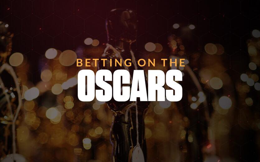 Betting on the oscars text overlay on oscar trophy image