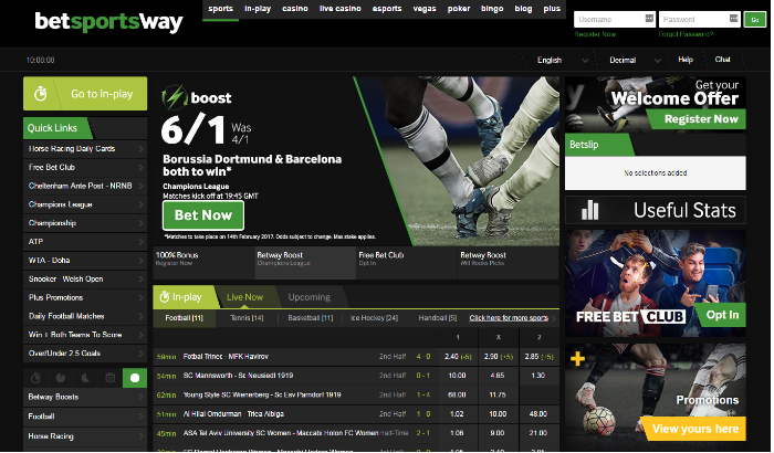 Betway sportsbook home