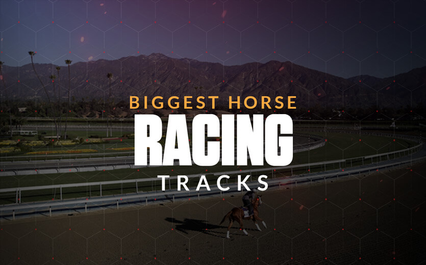Biggest horse racing tracks text overlay on horse racing track