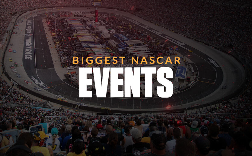 Biggest NASCAR events text overlay on NASCAR track