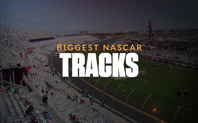 Biggest NASCAR tracks text overlay on NASCAR track