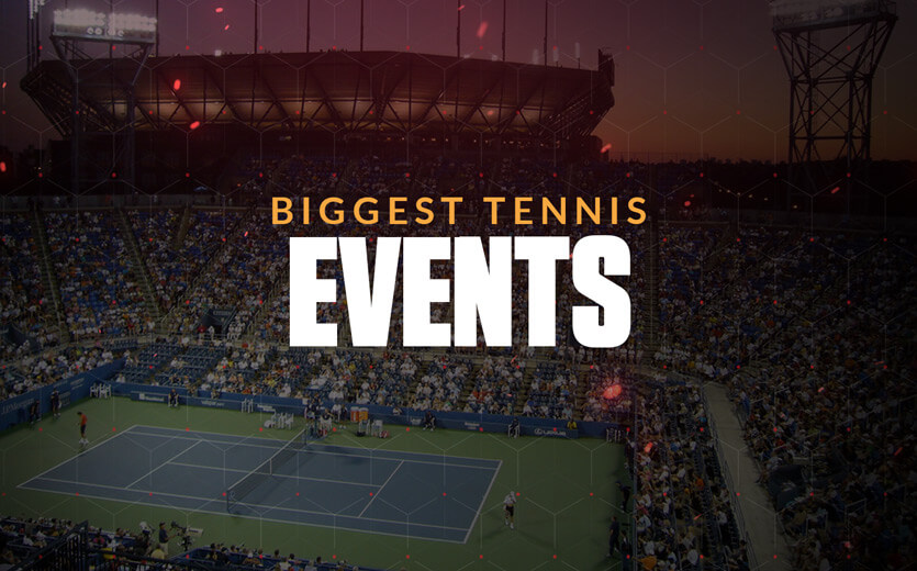 Biggest tennis events text overlay on tennis stadium