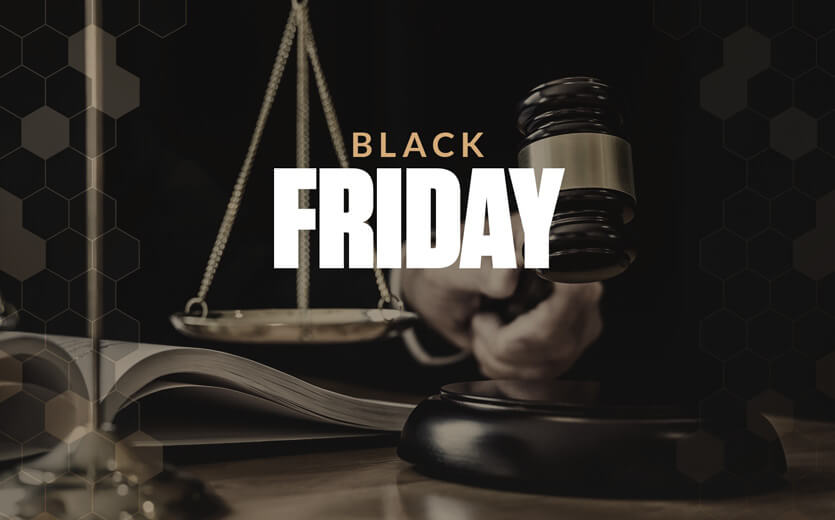 Black Friday text overlay on legal scale