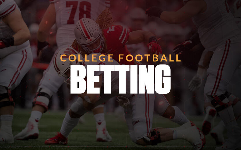 College football betting text overlay on Ohio State player
