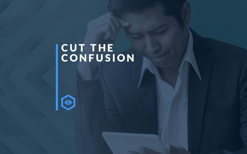 Cut the confusion text overlay on confused man