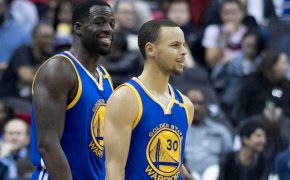 Draymond Green and Steph Curry of the Golden State Warriors
