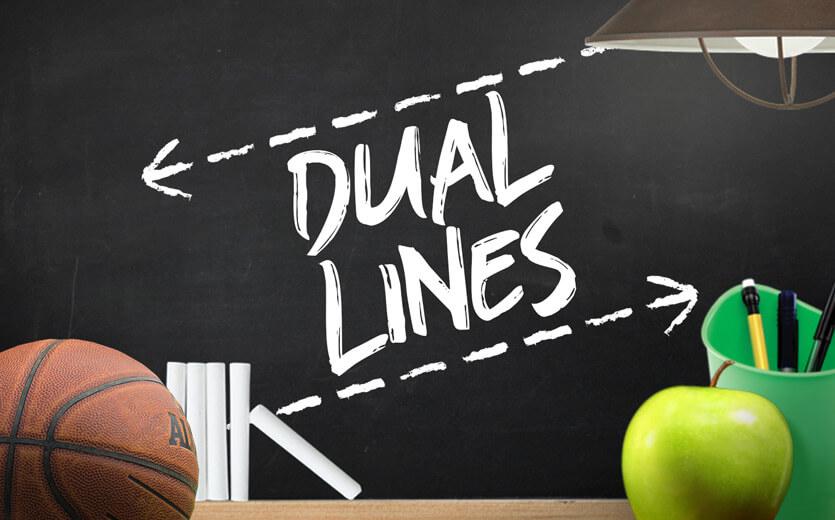 Dual lines written on betting 101 chalkboard