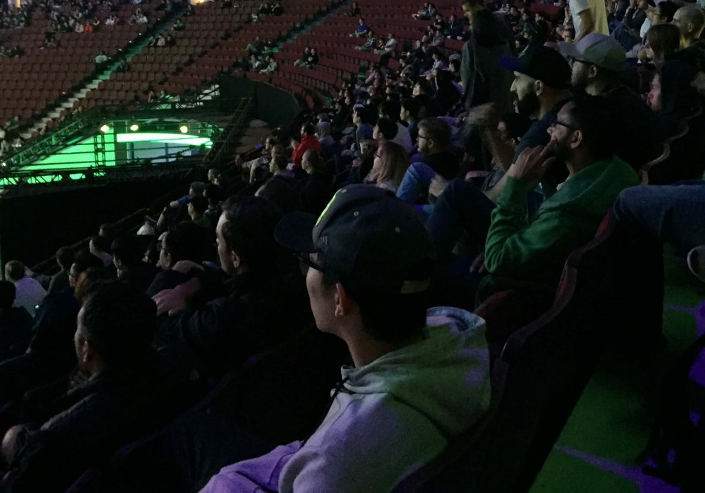 Fans take in the fast and furious action at The International 2018 in Vancouver.