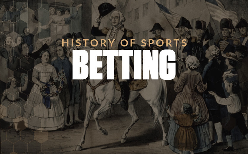 Histroy of sports betting text overlay on George Washington on horse
