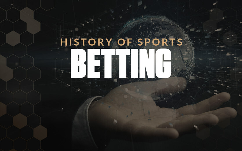 History of sports betting text overlay on hand with floating globe