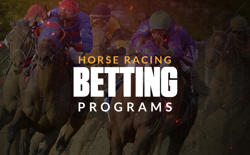 horse racing betting programs text overlay on horse race image
