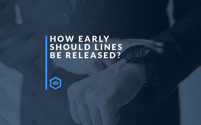 how early should the lines be released text overlay on man checking watch