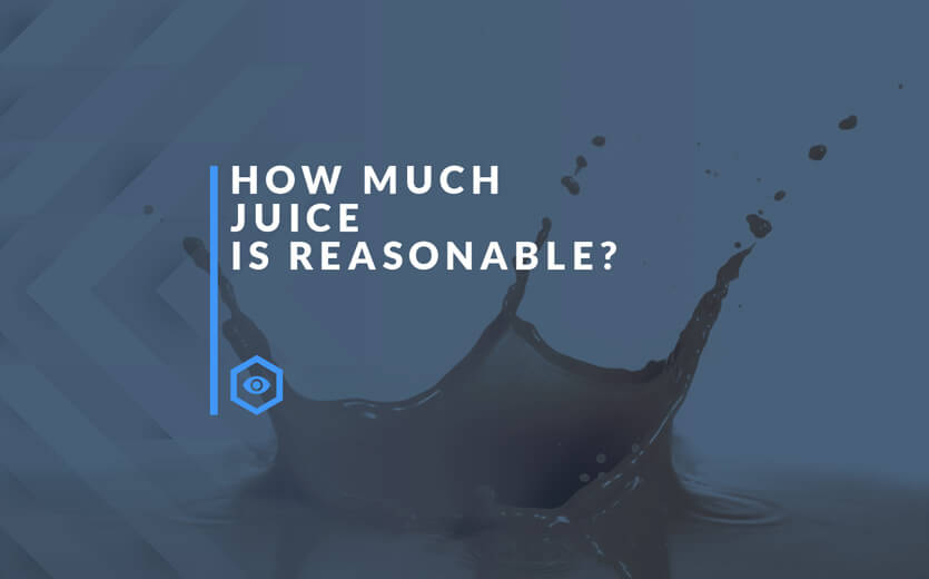 How much juice is reasonable text overlay on juice image