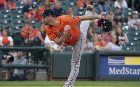 Justin Verlander on the mound for the Houston Astros.