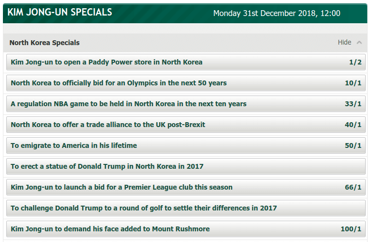 Kim Jong-Un Specials at PaddyPower