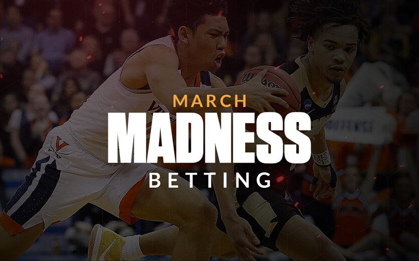 March Madness Betting text overlay on college basketball image
