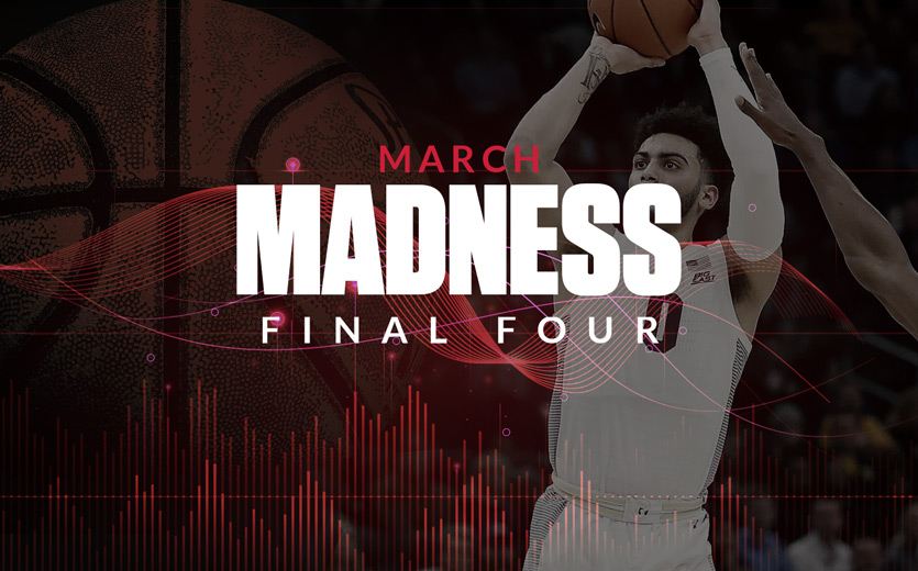 march madness final four text overlay on jump shot
