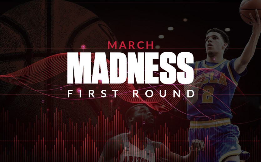 March madness first round text overlay on basketball game