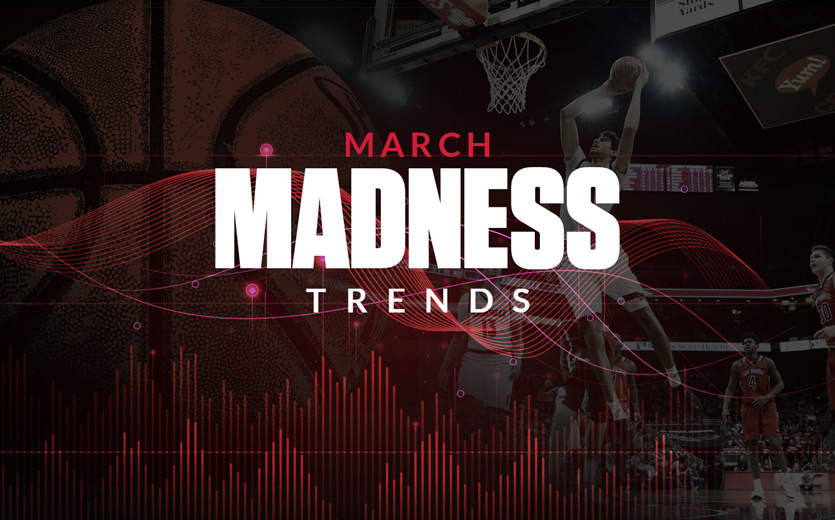 march madness trends text overlay basketball game