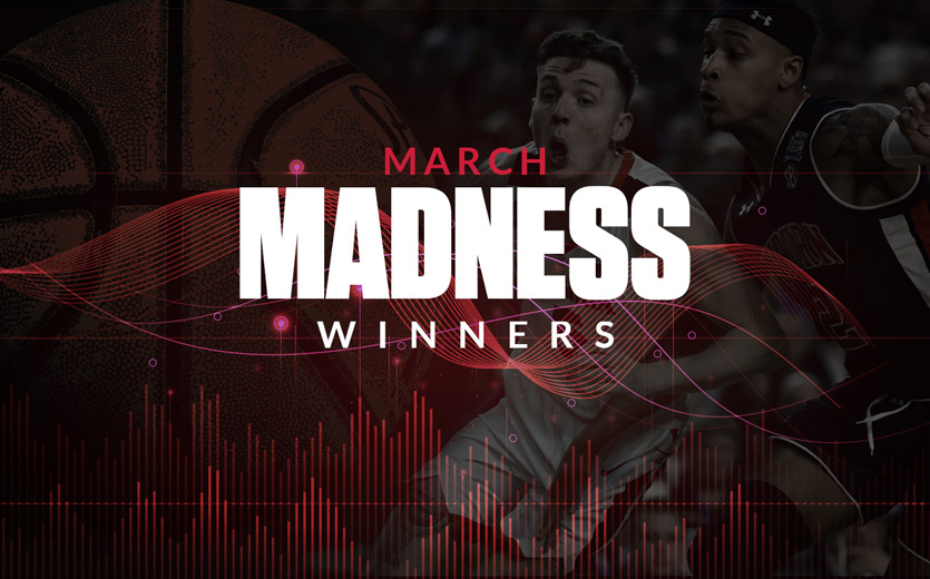 March madness winners text overlay on basketball game