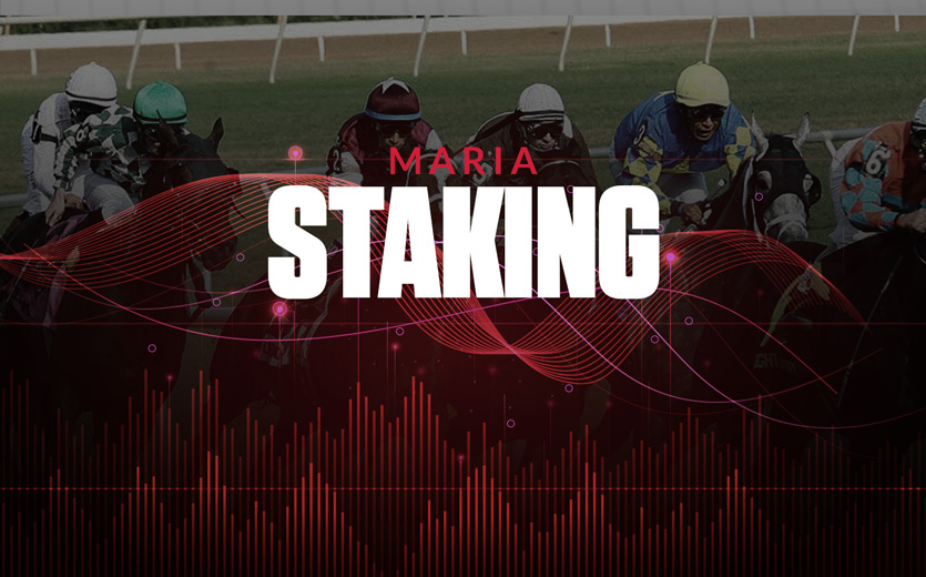 Maria staking text overlay on horse race