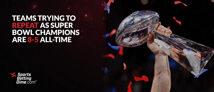 A player hoisting the Lombardi Trophy